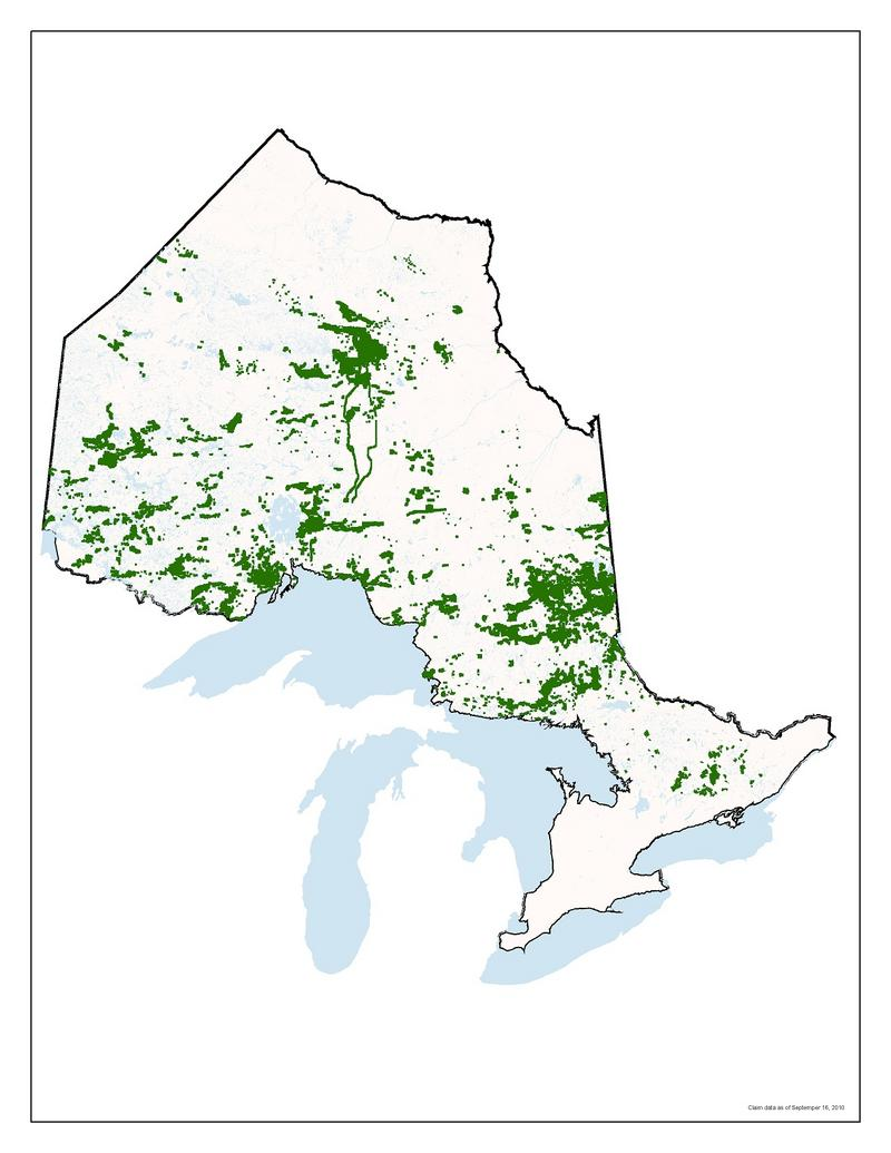 Map of mining claims as displayed at Queen's Park media conf...
